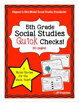 5th Grade Social Studies Quick Check Spiral Review Set (Oh