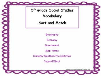 5th Grade Social Studies Sort and Match