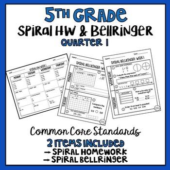 5th Grade Spiral Homework and Bellringer BUNDLE Quarter 1