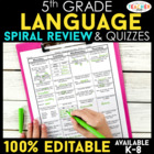 Fifth Grade Language Homework ENTIRE YEAR } EDITABLE