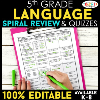 5th Grade Language Homework or 5th Grade Morning Work Daily Language Review