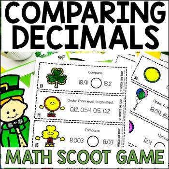 5th Grade St. Patrick's Day SCOOT - Compare and Order Decimals