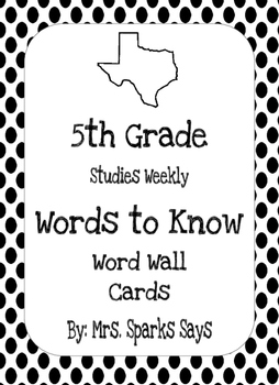 5th Grade Studies Weekly Words to Know Word Wall Words