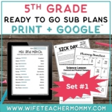 5th Grade Sub Plans Ready To Go for Substitute. No Prep. O