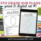 5th Grade Sub Plans Ready To Go for Substitute. No Prep. O