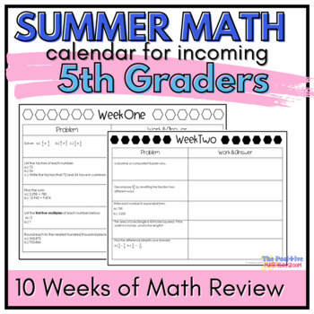 5th Grade Summer Math Review Calendar: 7 Weeks of Common C