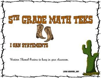 5th Grade Math TEKS, I Can Statements, Western Theme White