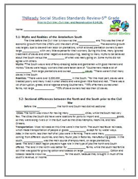 5th Grade TN Part2 Social Studies: Prior to Civil War, Civ