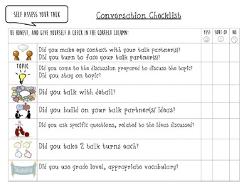 5th Grade Talk Rubric, Checklist and Reflection Sheet