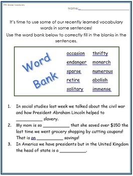 5th Grade Vocabulary Workbook Part 2