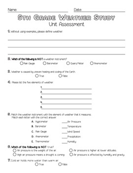 5th Grade Weather Unit Assessment