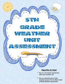 5th Grade Weather Unit Summative Assessment