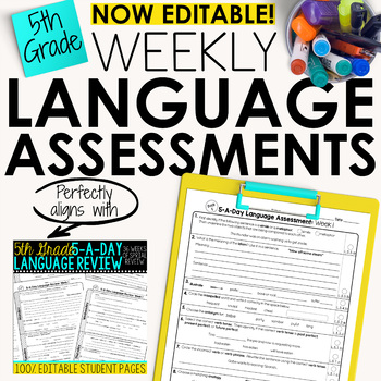 5th Grade Weekly Language Assessments  Grammar Quizzes