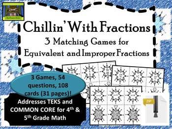 5th Grade Winter Fraction Games-- Equivalent, Improper (TE