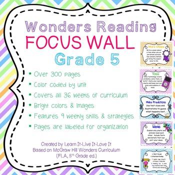 Wonders Reading Focus Wall-5th Grade
