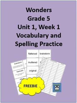 5th Grade Wonders Unit 1, Week 1 FREEBIE Spelling and Vocabulary