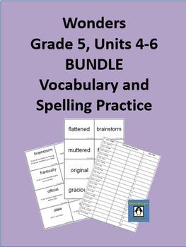 5th Grade Wonders - Units 4-6 BUNDLE Spelling and Vocabula