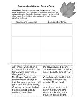 5th Grade Grammar Worksheet & KEY - Compound and Complex S