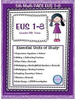 5th Math PACE TEKS EUS 1-8 for Leander ISD Texas
