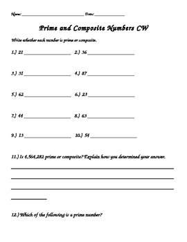 5th grade Common Core Prime and Composite Numbers