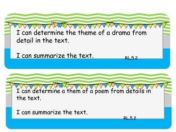 5th grade ELA Common Core I can statements