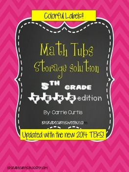5th grade MATH TEKS  Colorful Organization Labels *updated!