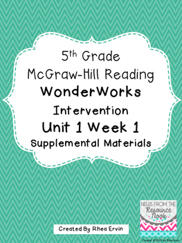 5th grade Reading WonderWorks Supplement- Unit 1 Week 1