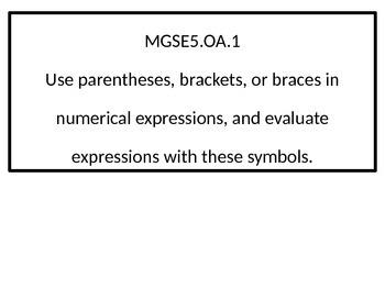 5th grade Standards posters  G.S.E. black-line border.