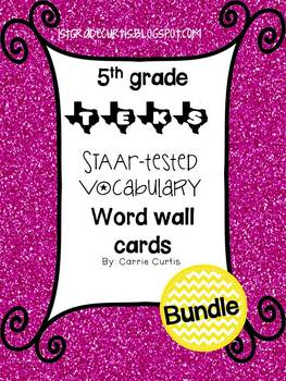 5th grade TEKS STAAR Tested vocabulary Word Wall Cards Bundle