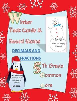 fractions & decimals task cards & board game