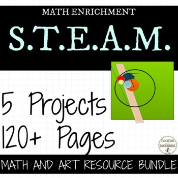 5th and 6th grade Math Art Project Bundle for middle schoo