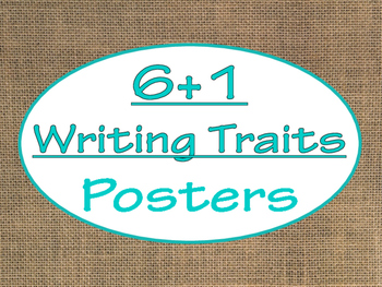 6+1 Writing Traits  Bulletin Board Signs/Posters (Burlap a