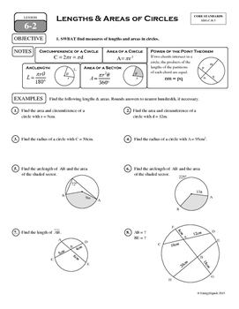 6-2 Lengths & Areas of Circles