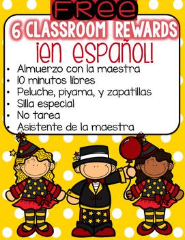 6 Classroom Rewards ¡En Español! [Freebie]