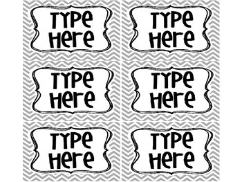 6 EDITABLE Chevron Labels / Tags in Gray
