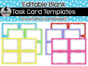 6 Editable Task Card Templates Snowflakes (Landscape) PowerPoint