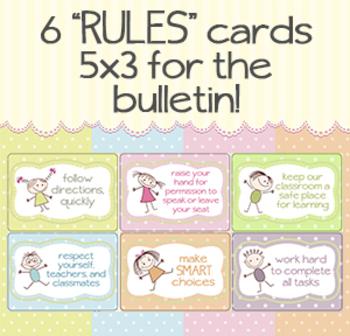 """6 Fun polka dot/cartoon """"RULES"""" 5x3 cards for bulletin board"""