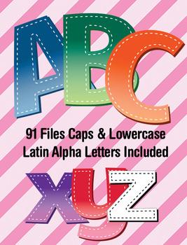 6 Gradient Brights Alphabets - Digi Stamp - Latin Accents