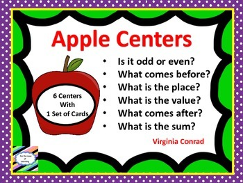 Apple Math Center Task Cards