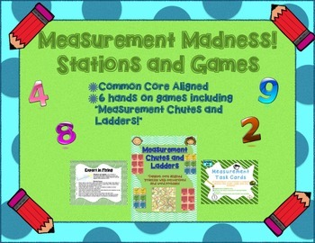 6 Measurement Math Stations + Games (Common Core Aligned 3
