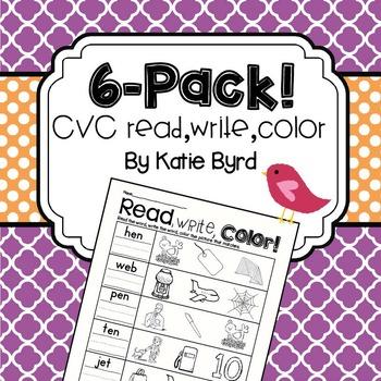 6-Pack! CVC Read, Write, Color