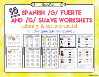 10 Spanish Phonics /G/ Fuerte and Suave Worksheets