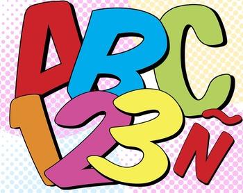 6 Super Hero Alphabets • 88 300 DPI PNGs • Latin-Spanish G