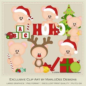 6 Teddy Bears of Christmas Clipart Graphics Set 2
