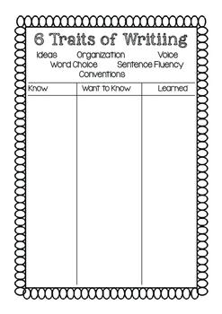 6 Traits KWL Chart-Interactive Notebooks