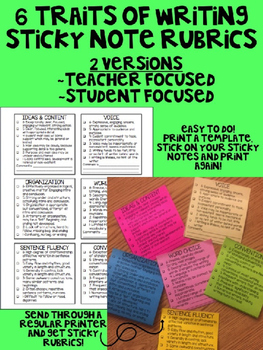 6 Traits of Writing Sticky Note Rubrics