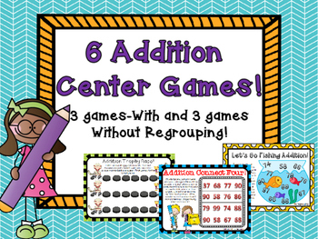 6 Two Digit Addition Math Center Games With and Without Re