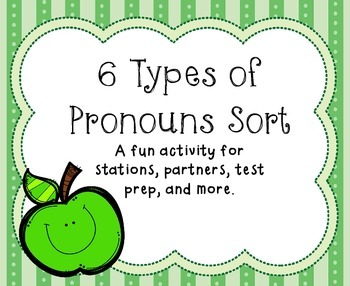 6 Types of Pronouns Sort - Station Activity AND Word Wall