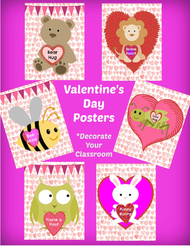 6 Valentine's Day POSTERS - AND - 6 CARDS for your students