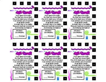 AR Poem and Goal Setting Cards for 6 Weeks Grading Period